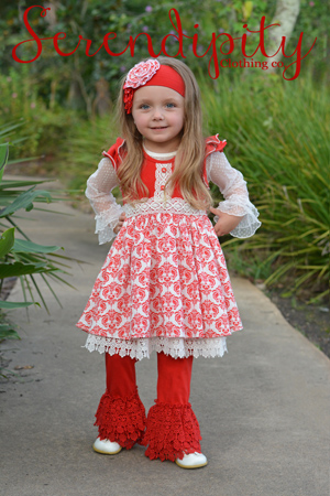 Splendid Flutter Dress & Red Crochet Trim Legging 16-31