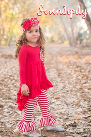Red Ruffle Tunic Top w/Stripe Bell Pant 16-33