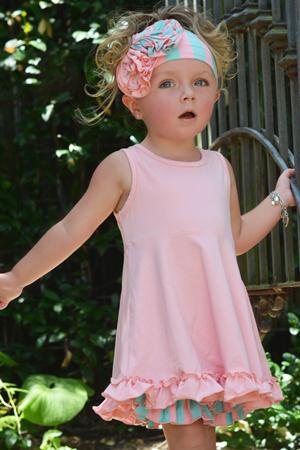 Pink Ruffle Tunic & Stripe Ruffle Shorts