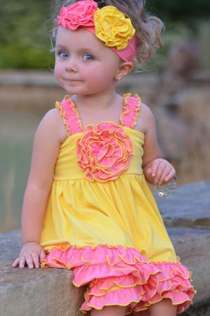 Pink & Yellow Ruffle Rosette Set