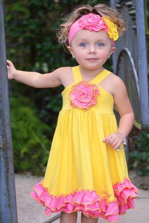 Yellow & Pink Ruffle Rosette Dress